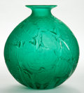 Art Glass:Lalique, R. LALIQUE GREEN GLASS MILAN VASE . Circa 1929. Engraved:R. Lalique, France. No 1025. 10-3/4 inches high (2...
