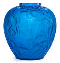 Art Glass:Lalique, R. LALIQUE ELECTRIC BLUE GLASS PERRUCHES VASE . Circa 1919.Wheel carved: R. LALIQUE. 10-1/8 inches high (25.7 c...