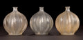 Art Glass:Lalique, THREE R. LALIQUE CLEAR GLASS MALINES VASES . Circa 1924.Molded: R. LALIQUE . Engraved: R. Lalique, France ...(Total: 3 Items)