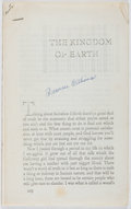 Books:Literature 1900-up, Tennessee Williams. SIGNED. The Kingdom of Earth. Eighteenpages printed on the recto only (photocopied?). Signe...