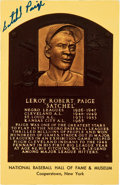 Autographs:Post Cards, Circa 1980 Satchel Paige Signed Gold Hall of Fame Plaque, PSA/DNAGEM MT 10....