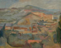 Paintings, ANDREW MICHAEL DASBURG (American, 1887-1979). Pueblo Village. Oil on artists' board. 10-1/2 x 13-1/2 inches (26.7 x 34.3...