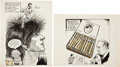 Basketball Collectibles:Others, 1970's Original Cartoon Art by Bill Gallo Lot of 2....