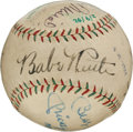 Autographs:Baseballs, 1929-92 Legendary Sluggers Multi-Signed Baseball with Ruth, Gehrig,DiMaggio, Mantle....