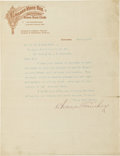 Autographs:Letters, 1910 Charles Comiskey Signed Letter....
