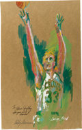 Basketball Collectibles:Others, 1992 Larry Bird Leroy Neiman Original Painting - Presented toCeltics Staff Photographer. ...