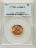Lincoln Cents: , 1924 1C MS64 Red PCGS. PCGS Population (236/269). NGC Census:(108/154). Mintage: 75,178,000. Numismedia Wsl. Price for pro...