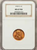 Lincoln Cents: , 1939-S 1C MS67 Red NGC. NGC Census: (1742/0). PCGS Population(296/0). Mintage: 52,070,000. Numismedia Wsl. Price for probl...
