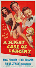 "Movie Posters:Comedy, A Slight Case of Larceny (MGM, 1953). Three Sheet (41"" X 80""). Comedy.. ..."