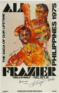 "Boxing Collectibles:Memorabilia, 1975 Muhammad Ali and Joe Frazier Signed ""Thrilla"" Stateside Poster. ..."