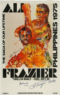"1975 Muhammad Ali and Joe Frazier Signed ""Thrilla"" Stateside Poster"