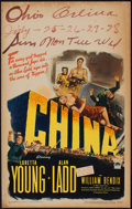 "Movie Posters:War, China (Paramount, 1943). Window Card (14"" X 22""). War.. ..."