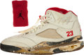 Basketball Collectibles:Others, 1990-91 Michael Jordan Game Worn Signed Shoe and Wristband. ...
