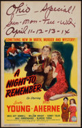 "Movie Posters:Mystery, A Night to Remember (Columbia, 1942). Window Card (14"" X 22"").Mystery.. ..."