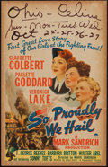 "Movie Posters:War, So Proudly We Hail (Paramount, 1943). Window Card (14"" X 22"").War.. ..."