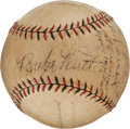 Autographs:Baseballs, 1928 New York Yankees Partial Team Signed Baseball with Ruth,Gehrig, Huggins....