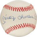 Autographs:Baseballs, 1980's Mickey Charles Mantle Single Signed Baseball....