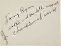 Boxing Collectibles:Autographs, Circa 1920 Tommy Ryan Signed Cut Signature. ...