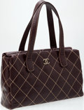 Luxury Accessories:Bags, Heritage Vintage: Chanel Brown Lambskin Leather Top Handle Totewith Contrast Stitching. ...