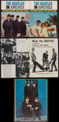 """Beatles Lot (Various, 1963-1964). Spiral Notebook (8.25"""" X 10.5""""), Booklets (2) (7"""" X 9"""", and 7.25&q..."""