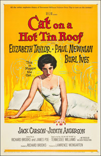 "Cat on a Hot Tin Roof (MGM, 1958). One Sheet (27"" X 41""). Drama"