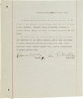 Baseball Collectibles:Others, 1912 Boston Red Sox Signed Document - With Owner James McAleer andRobert McCoy....