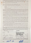 Hockey Collectibles:Others, 1974 Dave Hutchinson, Clarence Campbell and Jake Milford Multi Signed Player's Contract....