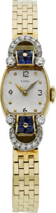Estate Jewelry:Watches, Movado Lady's Diamond, Sapphire, Gold Wristwatch, Retailed by Yard....