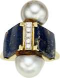 Estate Jewelry:Rings, Diamond, Cultured Pearl, Lapis, Gold Ring. ...