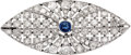 Estate Jewelry:Brooches - Pins, Art Deco Sapphire, Diamond, Platinum, Gold Brooch, French. ...