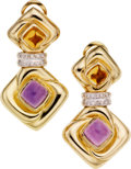 Estate Jewelry:Earrings, Amethyst, Citrine, Diamond, Gold Earrings. ...