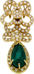 Estate Jewelry:Pendants and Lockets, Emerald, Diamond, Gold Enhancer-Pendant. ...