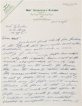 Boxing Collectibles:Memorabilia, 1941 Tommy Burns Handwritten Signed Letter Re: Dominance of Black Boxers....