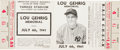 Baseball Collectibles:Tickets, 1941 Lou Gehrig Memorial Game Full Ticket....