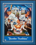 Baseball Collectibles:Others, Mickey Mantle and Don Mattingly Multi Signed Print....
