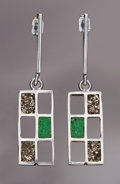 Lapidary Art:Boxes, METEORITE EARRINGS. 10 x 22 x 4mm (0.33 x 0.75 x 0.2inches)...