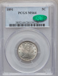 Liberty Nickels: , 1891 5C MS64 PCGS. CAC. PCGS Population (187/101). NGC Census:(149/77). Mintage: 16,834,350. Numismedia Wsl. Price for pro...