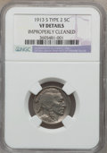 Buffalo Nickels: , 1913-S 5C Type Two -- Improperly Cleaned -- NGC Details. VF. NGCCensus: (37/1157). PCGS Population (33/1840). Mintage: 1,2...