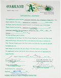 Autographs:Others, 1974 Reggie Jackson Signed Supplemental Oakland A's Contract....