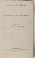 Books:Periodicals, Bound Volume of The Galaxy. Vol. XIX. Jan. to June, 1875.Sheldon, 1875. First edition, first printing. Contempo...