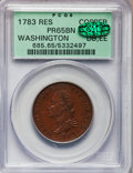 Colonials, 1783 1C Washington & Independence Cent, Draped Bust, No Button,Copper Restrike, Engrailed Edge PR65 Brown PCGS. CAC. Baker-3...