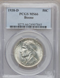 Commemorative Silver: , 1938-D 50C Boone MS66 PCGS. PCGS Population (163/52). NGC Census:(131/32). Mintage: 2,100. Numismedia Wsl. Price for probl...