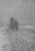 Photographs:20th Century, ALFRED STIEGLITZ (American, 1864-1946). Winter, FifthAvenue, 1893. Photogravure, 1905. 8-5/8 x 6 inches (21.9 x 15.2cm...