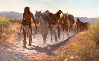 Featured item image of HOWARD A. TERPNING (American, b. 1927)  Plunder From Sonora, 1982  Oil on canvas  30 x 48 inches (76.2 x 121.9 cm)  Sign... (Total: 2 Items)