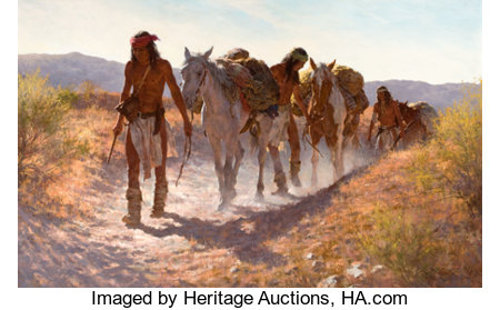 HOWARD A. TERPNING (American, b. 1927) Plunder From Sonora, 1982 Oil on canvas 30 x 48 inches (76.2 x 121.9 cm) Sign... (Total: 2 Items)