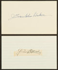 Baseball Collectibles:Others, Jim Bottomley and Home Run Baker Signed Index Cards Lot of 2....