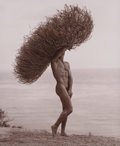 Photographs, HERB RITTS (American, 1952-2002). Male Nude with Tumbleweed, Paradise Cove, 1986. Gelatin silver, printed later. 12-1/4 ...