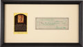 Autographs:Checks, 1955 Ty Cobb Signed Check, PSA/DNA MINT 9....