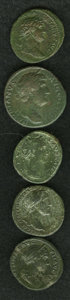Ancient Lots: , Ancient Lots: Lot of five Roman bronzes. Includes: Hadrian.Sestertius // As // Antoninus Pius. As // Faustina I. As //Faustina II. As. A... (Total: 5 Item)