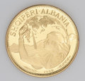 Albania: , Albania: Peoples Republic goldine 100 Leke 1969 UNIFACE, type of KM54, obverse only striking with the peasant girl and date below. Th...